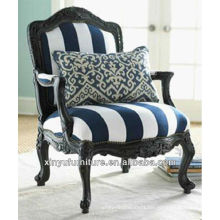 Classic carved solid wood arm chair with stripy upholstery XYD448