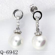 Los últimos estilos pendientes de la perla plata 925 (Q-6942)