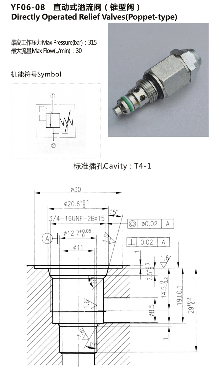 Hydraulic Poppet Adjustable Pressure Relief valve
