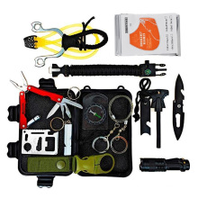 Amazon hot 14pcs portable camping gear and accessories knife led light, slingshot bracelet compass for hiking
