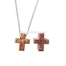 Collier de cristal Fashion Druzy Mini Cross
