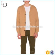 Cierre de botón frontal personalizado punto cardigan diseño hombres con capucha suéter