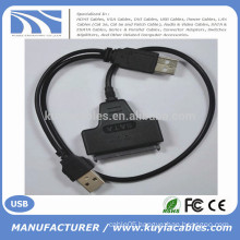 "High Speedr 2Male USB 2.0 to SATA Cable 15+7 pin connector for 2.5"" hard disk"