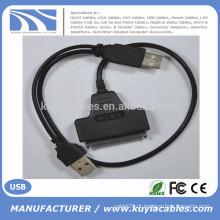 """High Speedr 2Male USB 2.0 para cabo SATA 15 + conector de 7 pinos para disco rígido de 2,5 """""""