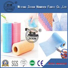 Tissu non-tissé non-tissé de Spunlace de tissu viscose de 100% chiffons le tissu non-tissé gaufré par POINT