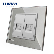 Livolo Панель из серого хрусталя VL-C792T-15 Wall 2 Gang RJ11 Телефонная розетка / розетка Электрическая вилка