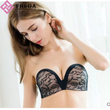 Full Cup Black Lace Body Strapless Bra
