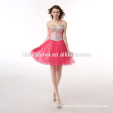 In-stock Candy Color Red Beaded Off-Shoulder Dress Elegant Evening For Party
