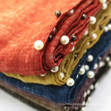 New arrival fashion wholesale pearl dubai solid hijab plain 2017 printed hijab 100% viscose scarves