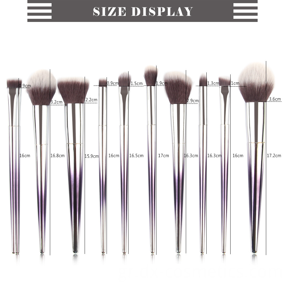 10 Pcs Graduated Color Makeup Brushes 10