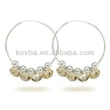 New arrival 925 sterling silver jewelry crystal hoop earrings