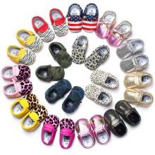 Mocasines para niños pequeños Zapatos de bebé para borlas y leopardos