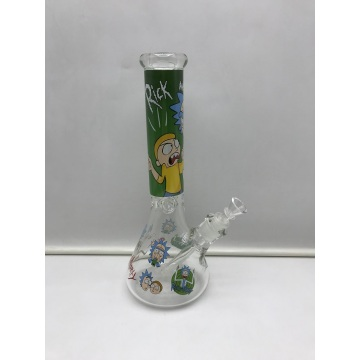 Dicke Glasbecher-Bongs mit Ricks Cartoon-Bild