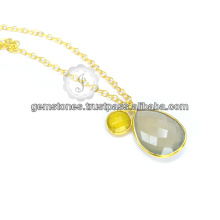 Beautiful Gray Chalcedony Silver Gemstone Long Chain Necklace For Women