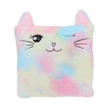 Custom Logo Rainbow Tie Dyed  Home Decoration Furry And Embroidery Cat Design Plush Pillows