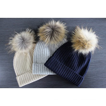 Ribbed knitted pure cashmere hat with pom pom hot sale from China