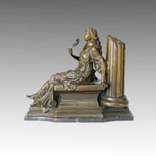 Classical Bronze Sculpture Flower Lady Deco Brass Statue TPE-009