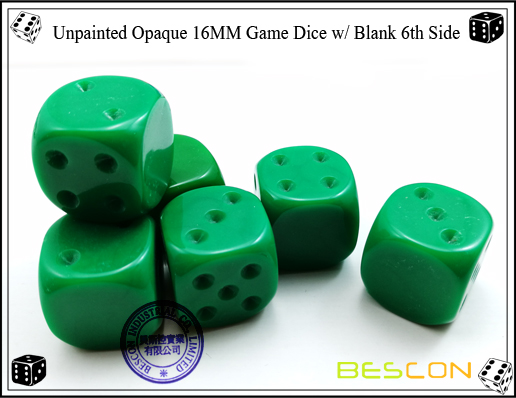 Unpainted Opaque Dice 16MM with Blank 6th Side-6