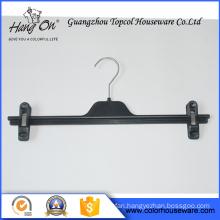 Black plastic pants hanger with clips