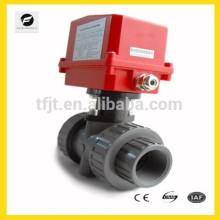DN40 AC120V UPVC válvula de esfera elétrica atuador para sistema de irrigação, sistema de refrigeração / aquecimento, sistema de encanamento de baixa tensão
