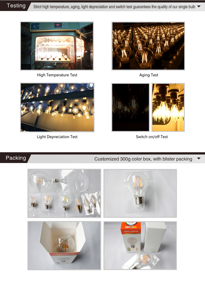 LED Filament Style Light Bulbs
