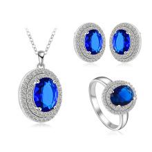 Ensembles de bijoux de mariage à la couleur bleue de saphir (CST0027-B)