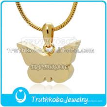 Einfache Schmetterling Design Urn 18K IP Gold Staineless Stahl Urnen Feuerbestattung Anhänger Keepsake Großhandel in China Factory