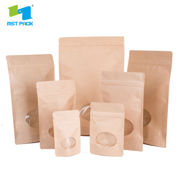 Biodegradable Kraft Paper Zipper Pouch Dengan Jendela Oval
