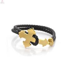 Personalisierte Mode Edelstahl Herren Leder Gold Armband Schmuck