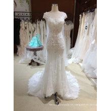 Mermaid Illusion Neckline vestido de novia con el mantón
