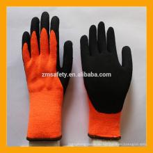 10 Gauge orange gebürstet Terry Loops Acryl ausgekleidet Winter Latex beschichtete Handschuhe