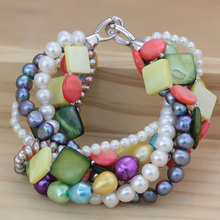 Fashonable Multi-Strands charmante Perle Armband Schmuck (E150040)