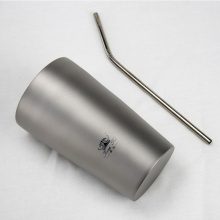 Custom Shape Dinner Titanium Cup With Straw