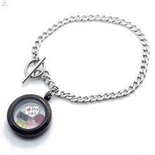 Vintage stainless steel plain silver chain black locket bracelet jewelry
