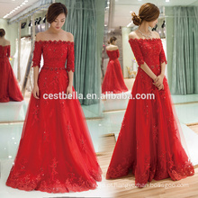 Elegant Lace Appliqued A Line Cap Sleeve Tulle Red Long Christmas Evening Party Dress 2016