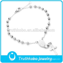 316 Stainless Steel Wholesale Religious Rosary Bracelet for Girl Silver Virgin Mary Cross 3MM Rosary Bracelet for Catholic