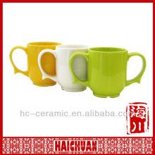 Ceramic two handle coffee mug, double handle ceramic mug