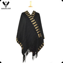 2016 High Quality Fashion Woven Poncho with Fringes