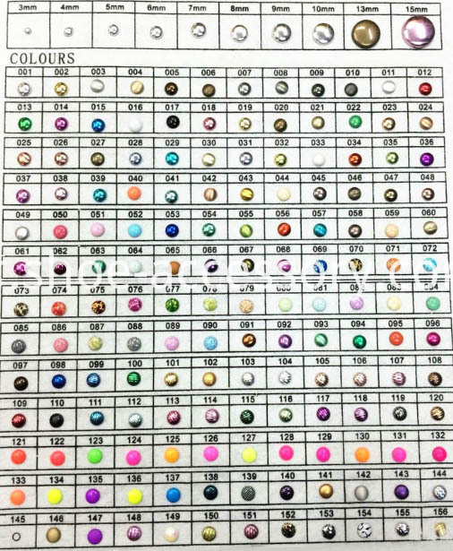 Iron-On aluminum studs-color card