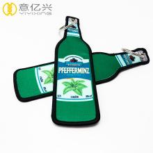 Company custom bottle shape tag woven keychain