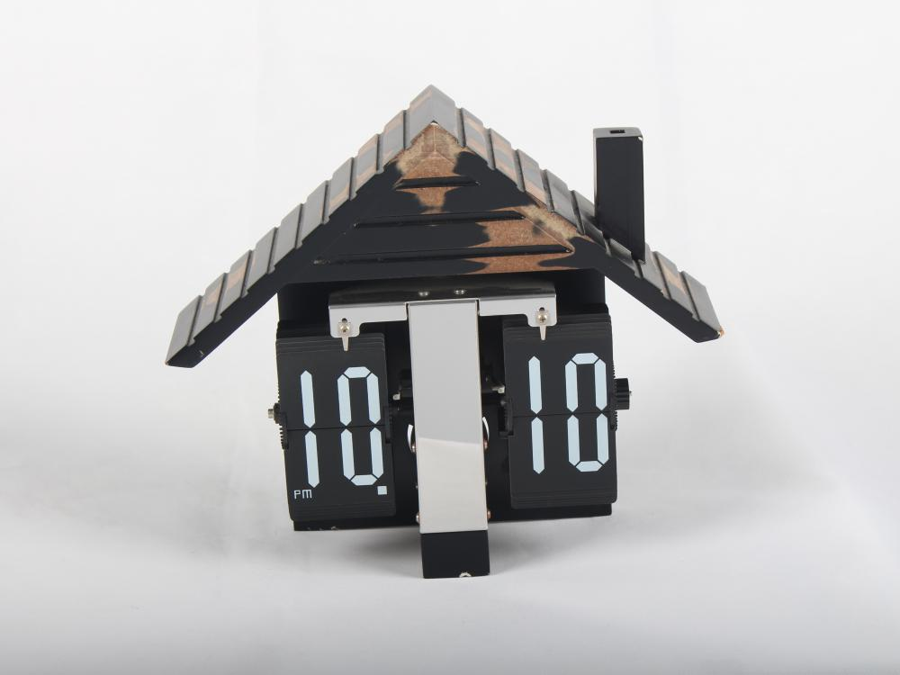 MDF House Flip Table Clock الأوروبية