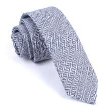 Blue Navy Herringbone - Corbata de lino de seda flaca para hombre
