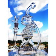 2016 Hbking Recycler Glass Water Pipe Pyrex Glass Smoking Pipe Swiss Perc Pipe