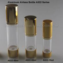 Flacon Airless 15ml 30ml 50ml en aluminium avec Base or