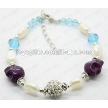 Pulsera de la perla 2012 del cráneo púrpura de Joya de la manera 2012