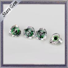 Cristal verde excelente y piedra preciosa de zirconia cúbica color mezclado blanco