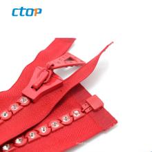 zipper factory crystal stones design fashion open end diamond zipper