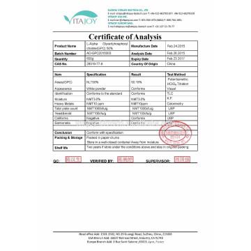 L-Alpha glycérylphosphorylcholine (Alpha-GPC) 50% et 99% de poudre / 85% de liquide dans le médicament non toxique CAS: 28319-77-9