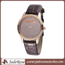 Reloj de aleación de moda caliente con reloj de cuero genuino