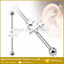 316L Surgical Steel Triple Star Industrial Barbell Earring